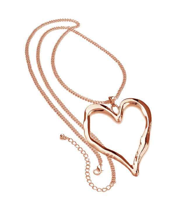Lagenlook rose gold very large heart necklace