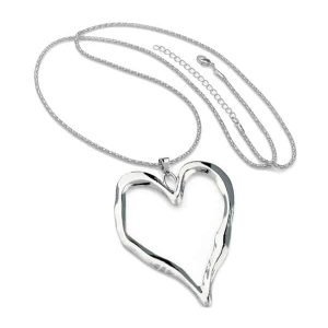 silver heart pendant long necklace