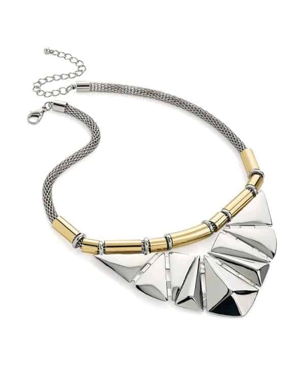 Statement jewellery art deco style design two tone gold and silver choker necklace