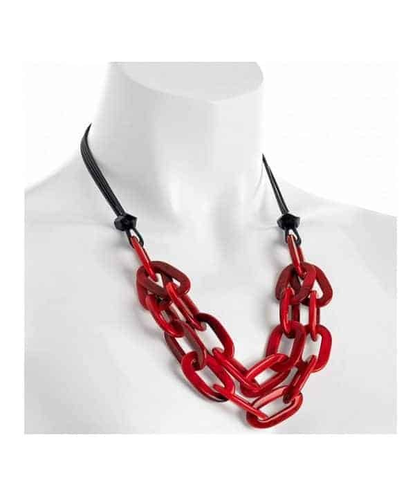 Red colour resin oval link black cord choker necklace
