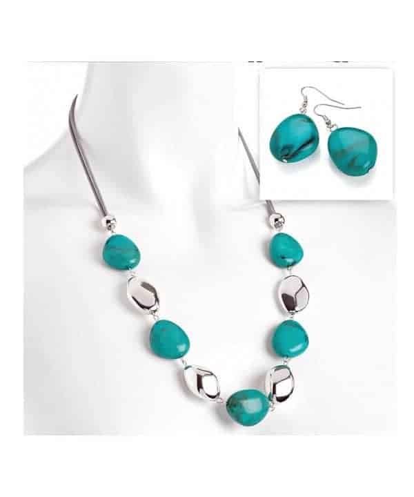 Faux turquoise stone on a grey cord necklace and earring fashion jewellery set