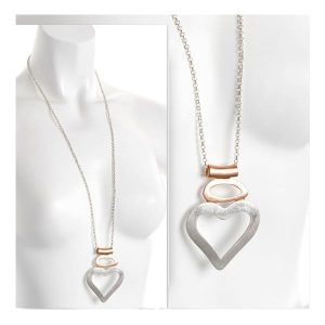 unusual lagenlook rose gold and silver large heart pendant necklace