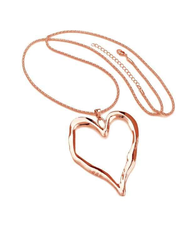 Rose gold large heart long necklace
