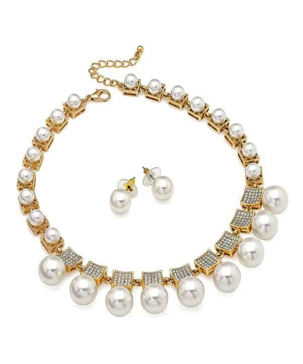 pearl and crystal diamante gold stud earrings necklace