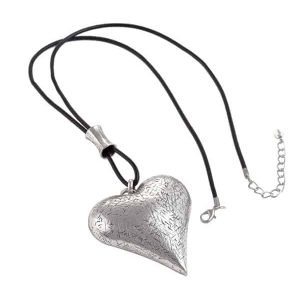 Lagenlook silver large heart leather long necklace