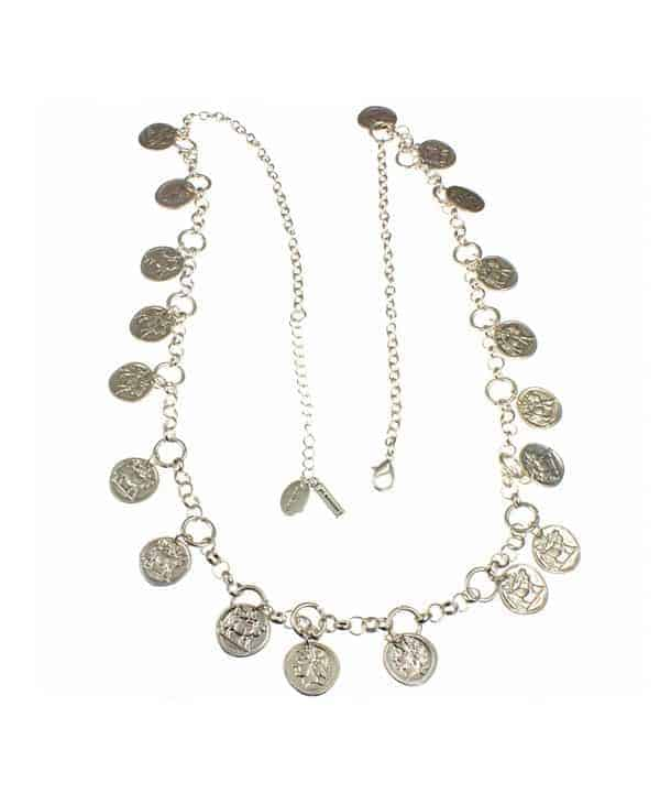 silver roman coin long necklace
