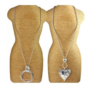 large silver colour chunky heart pendant and twisted ring long necklace designs