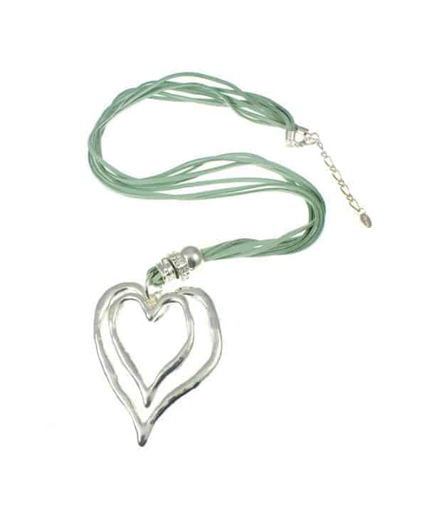 large double heart green suede long necklace