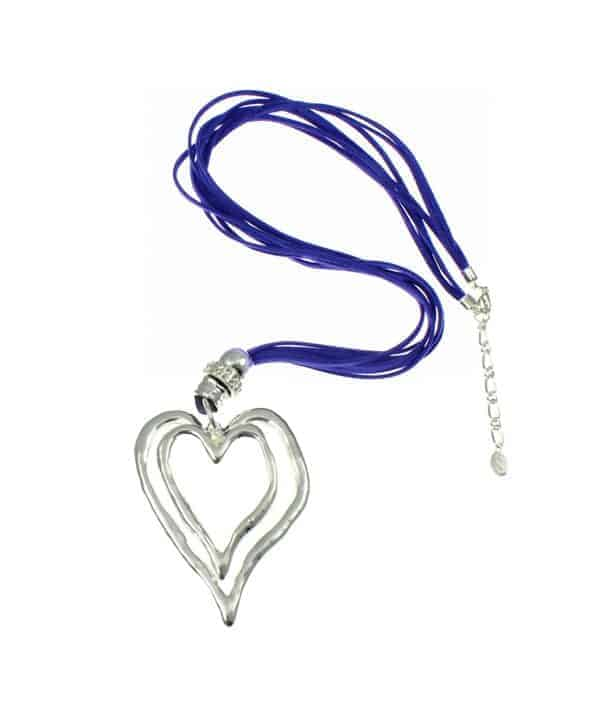 Large double heart pendant on a blue suede necklace