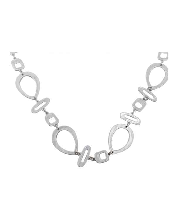 silver plated large abstract shape link long length necklace.