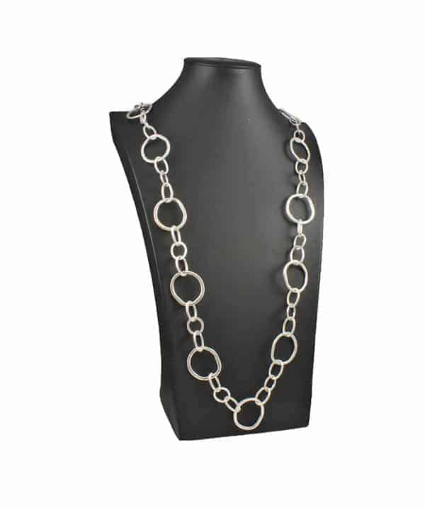 Fancy silver long necklace
