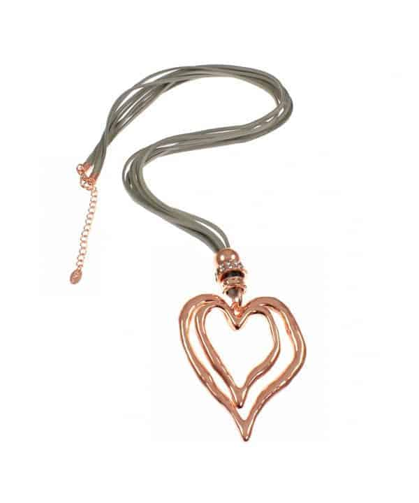 Lagenlook large rose gold heart long necklace