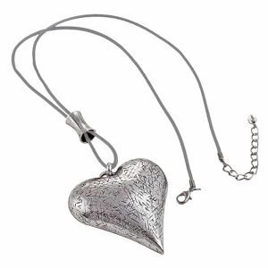Lagenlook burnished silver large chunky heart pendant grey leather long necklace
