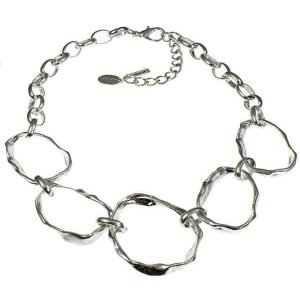 Chunky large multiple graduated silver statement choker necklace