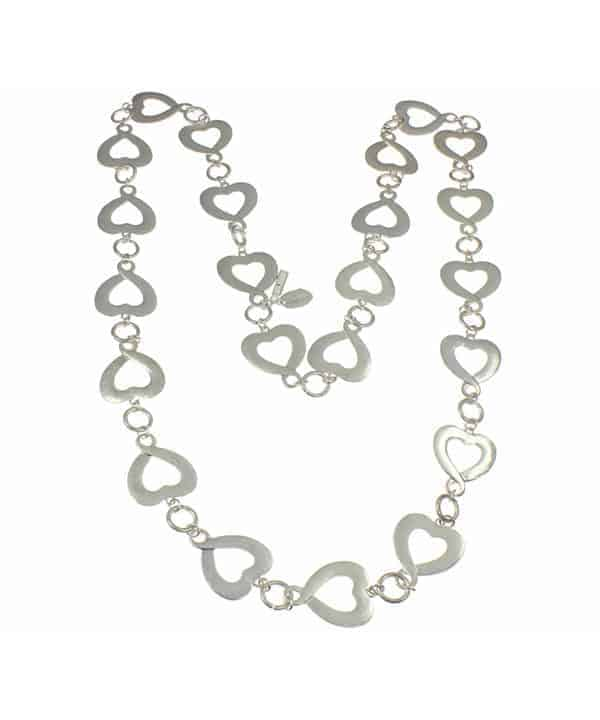 unusual silver heart charm long necklace