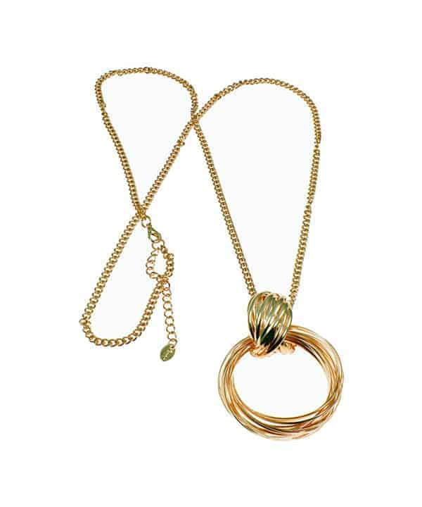 women's gold twisted long necklace piece