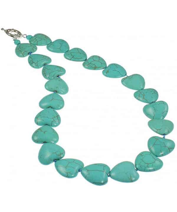 turquoise stone knotted heart necklace