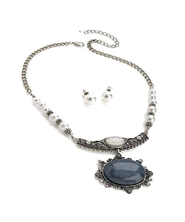 ae7ec2ed5fd87 Vintage antique silver faux pearl marble stone jewellery set