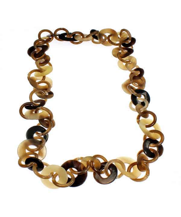 Brown tone embossed shell and resin round polo link design long necklace fashion jewellery