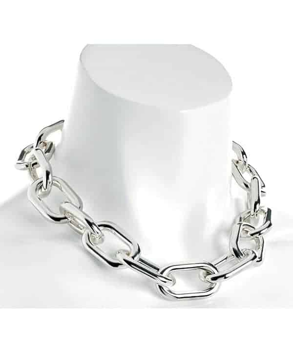 Silver colour chunky large oval lightweight choker necklace fashion jewellery