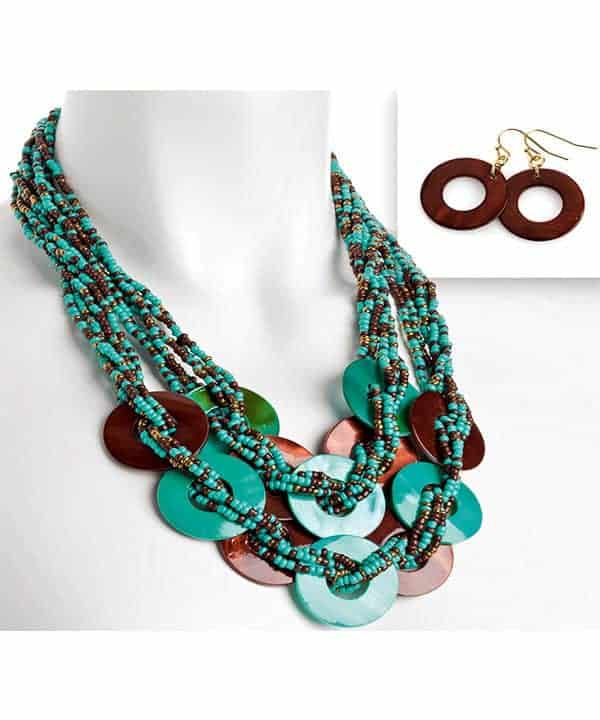 Statement fashion jewellery turquoise beads with brown disc necklace and earring jewellery set