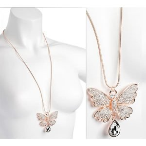 Rose gold colour crystal large butterfly design long chain necklace.
