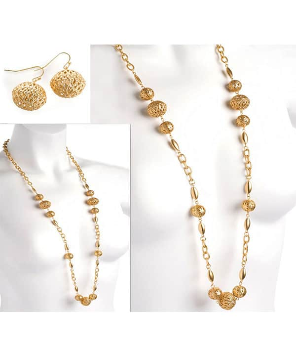 gold bead earring and necklace jewellery set