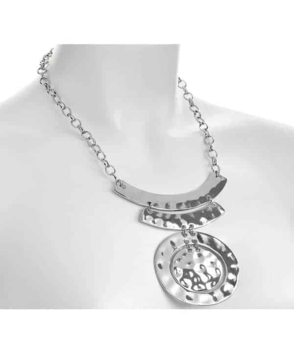 Polished silver hammered finish circular pendant belcher chain necklace
