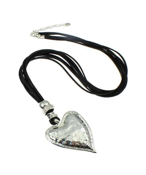 Chunky silver hammered heart pendant on a black suede fashion necklace