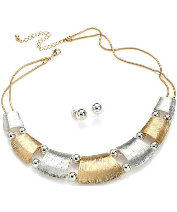 Textured gold and silver metal with beads chain choker necklace including earring