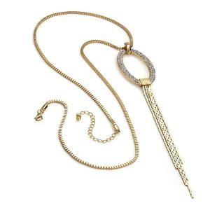 Long gold dangling chain tassel crystal diamante pendant necklace costume jewellery