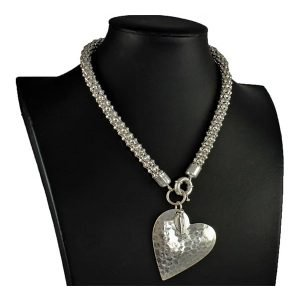 Costume jewellery matte silver colour large heart pendant chunky choker necklace