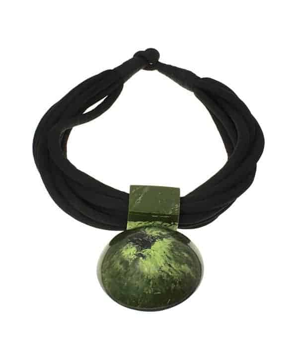 tribal jewellery large round green resin statement pendant choker necklace