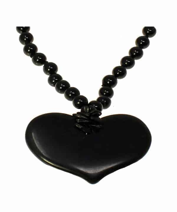 black onxy large heart bead choker necklace