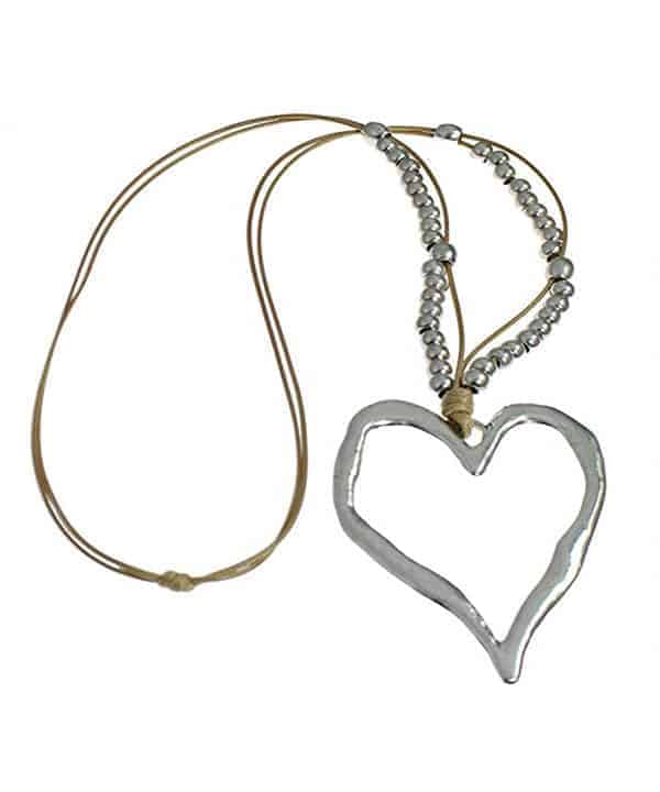 large heart silver bead necklace