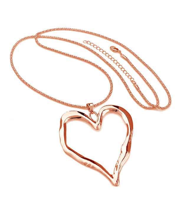 Rose gold large chunky heart pendant long necklace