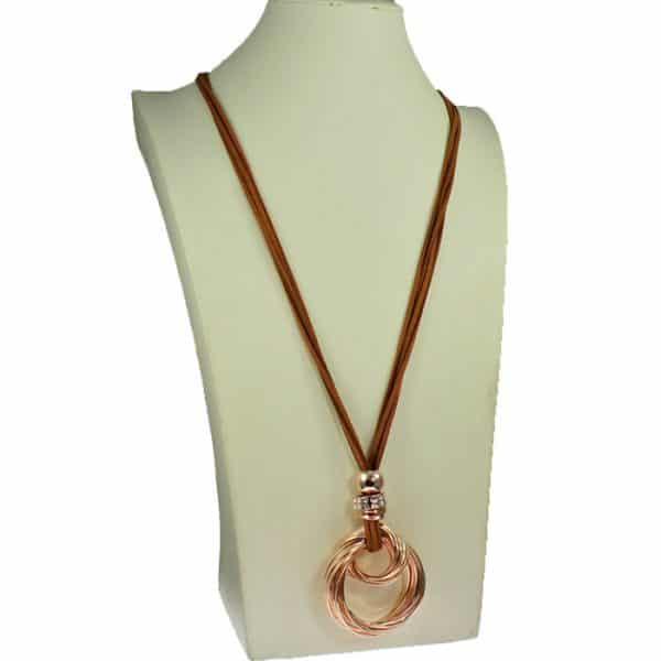 fashion jewelry lagenlook chunky twisted pendant on a long brown suede necklace