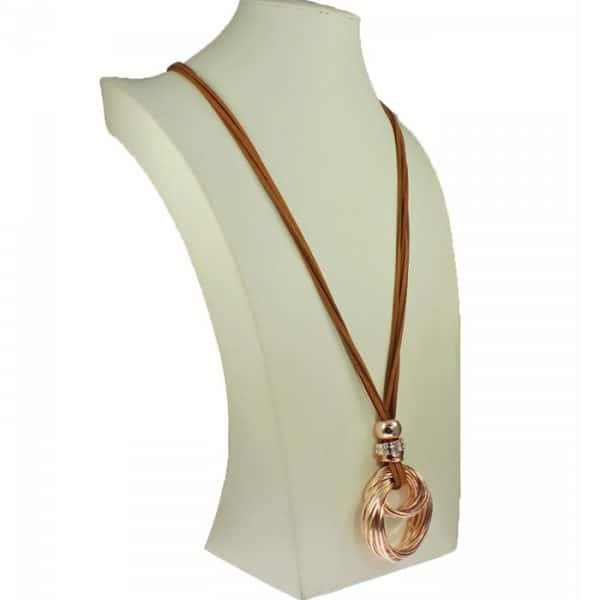 costume jewellery lagenlook chunky twisted pendant on a long brown suede necklace