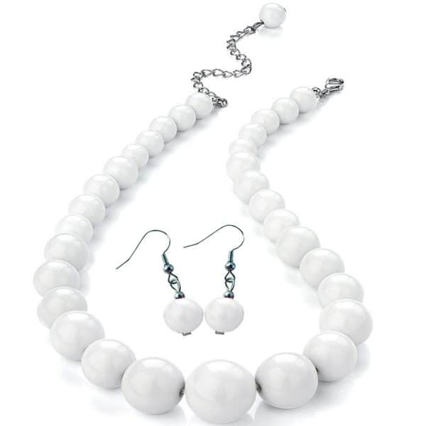 Women's pure white colour graduated bead choker necklace and matching earring fashion jewellery set