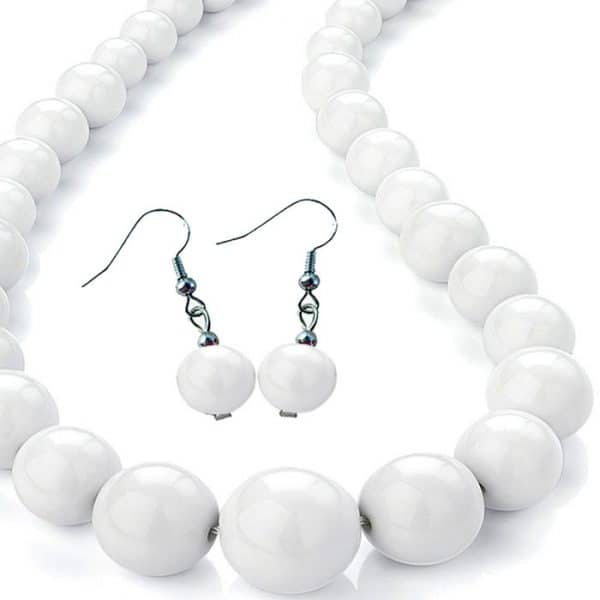 Women's pure white colour graduated bead choker necklace and matching earring