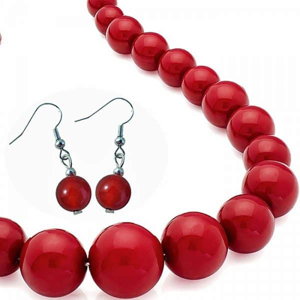 Graduated dark red colour bead choker necklace and matching earrings