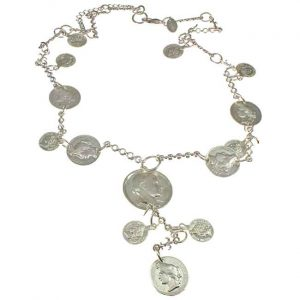 Eye catching chunky silver colour roman coin charm pendant long necklace