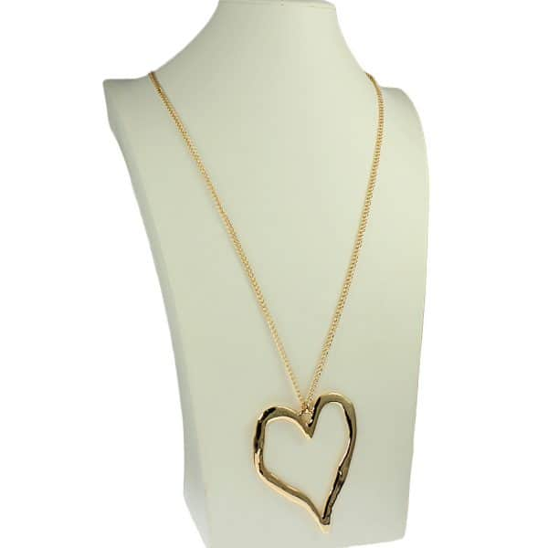 fashion jewellery large gold heart pendant long necklace