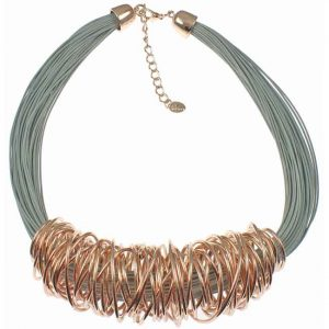 Rose gold spiral wrap wire grey leather cord fashion costume jewellery necklace