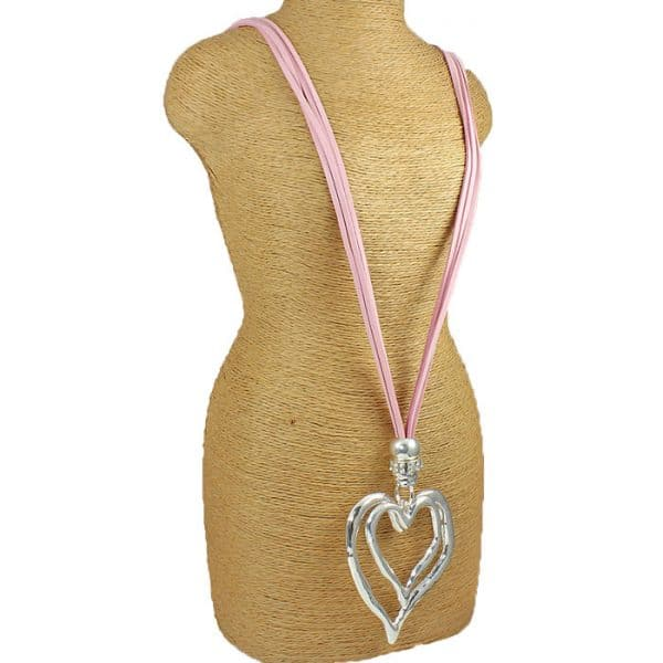Fashion lagenlook large double heart pendant on a pink suede long necklace