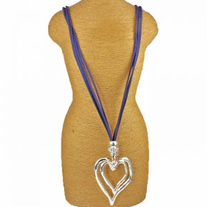 Fashion jewelry large double heart pendant on a blue suede necklace