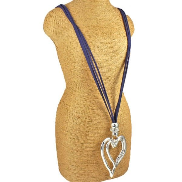 Lagenlook large double heart pendant on a blue suede necklace