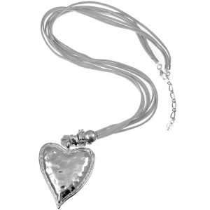 Lagenlook silver chunky heart pendant on a suede long necklace