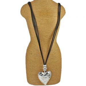 Lagenlook silver colour heart shape pendant black leather suede double strand fashion costume jewellery necklace