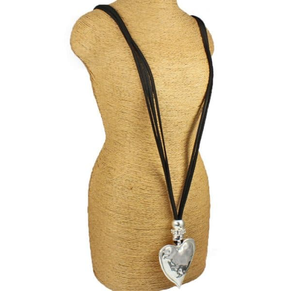 Chunky silver colour heart shape pendant black leather suede double strand fashion costume jewellery necklace